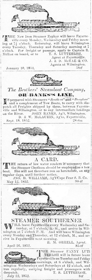 Assorted Cape Fear River Steamer Ads 1853