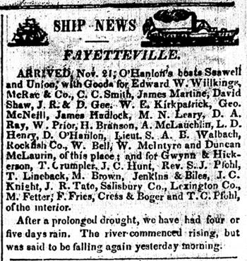 The North Carolinian 11271841 Boat Arrivals Fayetteville