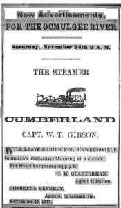 Stmr. CUMBERLAND advertisement in the Darien Gazette - Nov. 1877