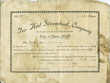 Tar Heel Steamboat Co Stock Certificate