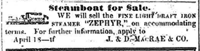 Sell ZEPHYR Steamboat Ad WDH07141855