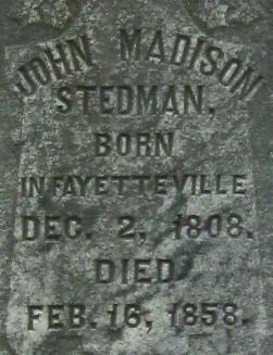 John Madison Stedman Grave Marker