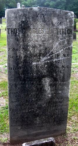 Thomas Charles Lutterloh Grave Marker - Cross Creek Cemetery, Fayetteville, NC