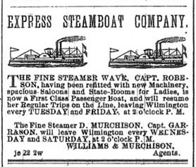 Advertisement for Steamers Wave and D. Murchison - Wilmington Morning Star July 4, 1878