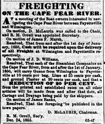 Freighting on the Cape Fear River Notice - FO Aug. 4, 1856